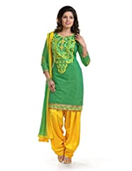 Ethnic For You Green & Yellow Chanderi Cotton Embroidery Work Dress Material-ETH5204