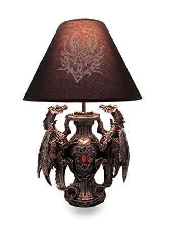 Gothic Guardians Of Light Medieval Dragons Table Lamp