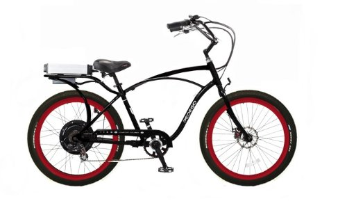 Pedego Classic Cruiser Black with Red Rims Tire/Seat Package: Black Balloon