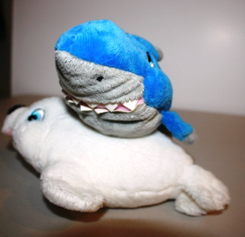 "STUFFED SHARK & SEAL 8"" SET for Infants & Children Washable Plush"