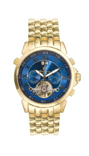 Burgmeister California BM 118-239 Herren Automatik Uhr offene Unruh gold blau Tag/Datum/Monat