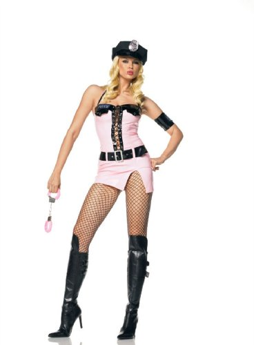 Sexy 4Pc Pinky Cop Police Uniform Halloween Costume