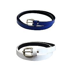 Verceys Blue And White Casual Belt For Women Combo Of 2