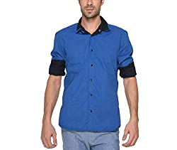 Copperstone Men's Casual Shirt (8903944577374_Blue_X-Large)