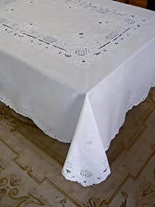 Florentine Hand Embroidered Cutwork Linen Tablecloth - 72 X 90""