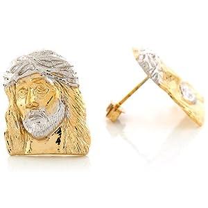 14k Two Tone Gold 1.90cm x 1.53cm Jesus Head Crown of Thorn Religous Post Earrings