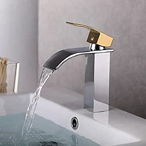 Didi contemporary chrome finish gold handle waterfall bathroom sink faucet for Gold and chrome bathroom faucets