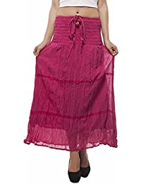 Indi Bargain Plain Cotton Laced 2 In 1 Skirt Cum Dress