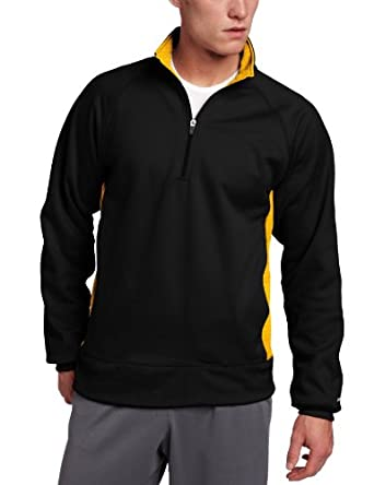 Soffe Men's Marathon Quarter Zip Fleece Sweatshirt, Black/Gold, Small