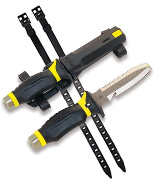 Uk Blue Tang Blunt Tip Scuba Diving Dive Knife With Sheath & Straps (Black/Yellow)