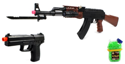 (Combo) Velocity Airsoft Ak-47 585+ Spring Airsoft Gun Fps-200 + Task Force Electric Blowback Airsoft Pistol Full Auto Fps-180 + 1000 Bb'S Clip-On Holster Container