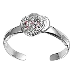 Sterling Silver Fashion Toe Ring - Heart with Pink CZ - 2mm Band Width