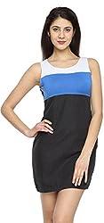 Texco Garments Women's A-Line Dress (23, White, Blue and Black, XL)