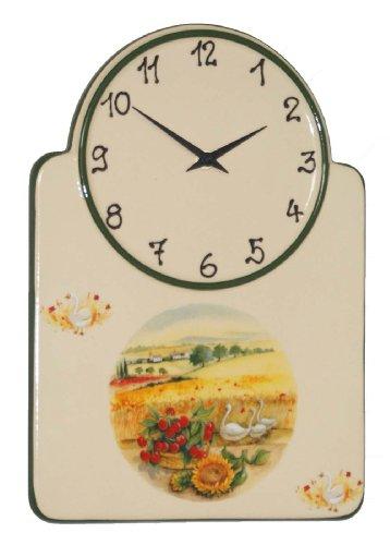tk015 Küchenuhr Keramik Korb Kirschen und Sonneblumen Wanduhr