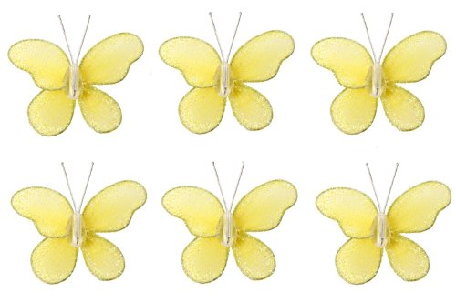 "Butterfly Decor 2"" Yellow Mini (X-Small) Glitter Butterflies 6Pc Set. Decorate For A Baby Nursery Bedroom, Girls Room Ceiling Wall Decor, Wedding Birthday Party, Bridal Baby Shower, Bathroom. Decoration For Crafts, Scrapbooks, Invitations, Parties front-984739"
