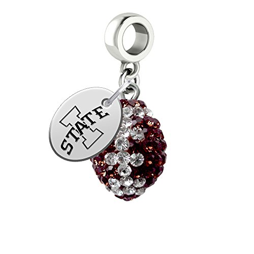 Iowa State Cyclones Crystal Football Drop Charm Fits All European Style Bracelets