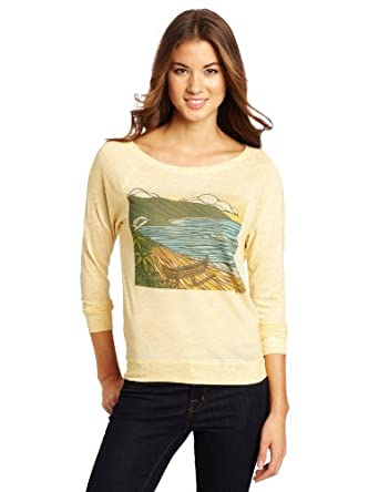 Rip Curl Juniors Haleiwa Sublimation Long Sleeve Shirt, Yellow, X-Small