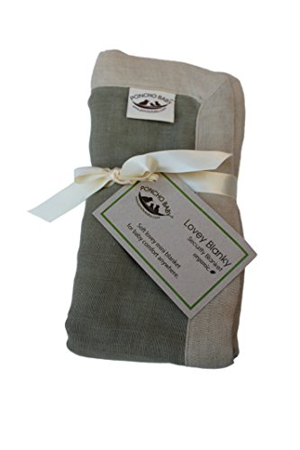 Poncho Baby Organic Security Blanket, Lovey Blanky, Olive/Beige