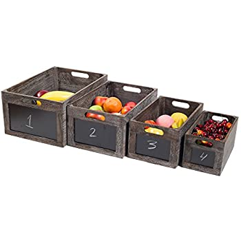 Vintage Style Produce Chalkboard Front Crates Wooden Box - Set of 4