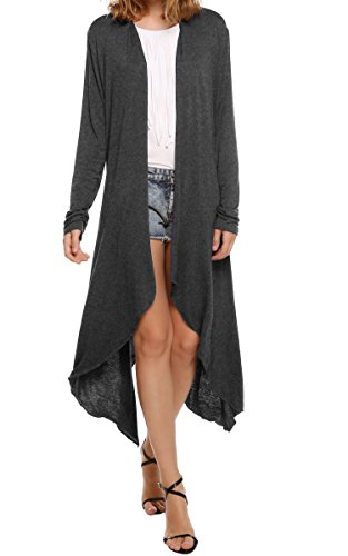 Meaneor Women's Long Sleeve Waterfall Asymmetric Drape Open Long Maxi Cardigan,  X-Large, Dark Gray1