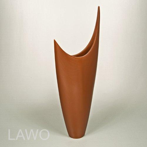 LAWO 104337 Vaso Design Laccato ELINA marrone Moderno Art Deco Vaso per Fiori Esclusivo Vaso di Legno