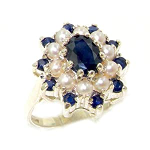 Fabulous Solid 14K White Gold Natural Sapphire & Pearl 3 Tier Large Cluster Ring - Size 8 - Finger Sizes 5 to 12 Available