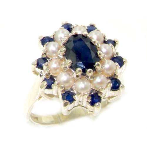 Fabulous Solid Sterling Silver Natural Sapphire & Pearl 3 Tier Large Cluster Ring - Size 12 - Finger Sizes 5 to 12 Available - Suitable as an Anniversary ring, Engagement ring, Eternity ring, or Promise ring