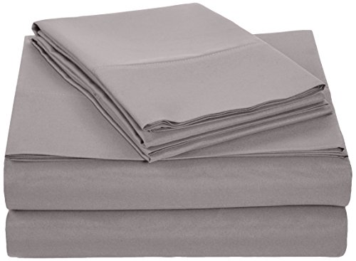 Review AmazonBasics Microfiber Sheet Set - Queen, Dark Grey