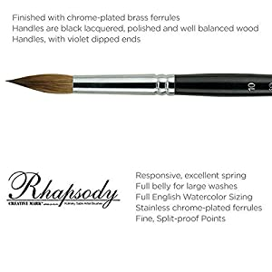 Creative Mark Rhapsody Kolinsky Sable Artist Watercolor Paint Brush - for Professional Watercolorists, Gouaches, Inks, Fluid Medias - [Round 3] (Color: Kolinsky Sable Round # 3, Tamaño: Size 14)