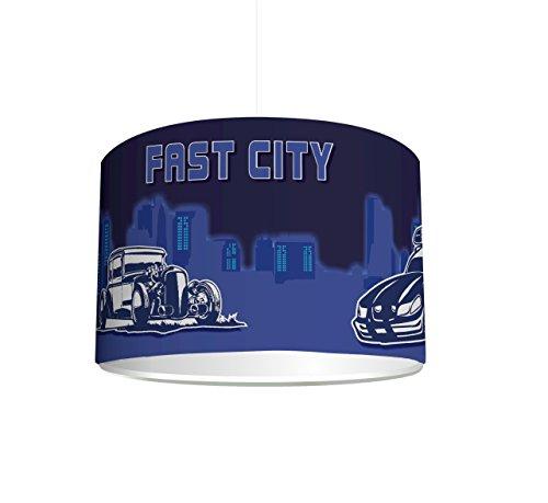 kinderzimmer lampenschirm fast city cars kl31 f r kinderzimmer als steh oder h ngeleuchte. Black Bedroom Furniture Sets. Home Design Ideas
