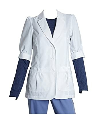 Barco Prima Junior Fit Short Sleeve White Lab Coat with Back Belt and Shirred Pockets-Large