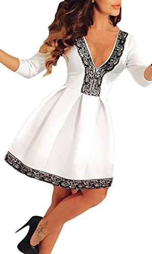 Anmengte Women Casual Half Sleeves Fall V Cocktail Party Midi Dress (S, White)