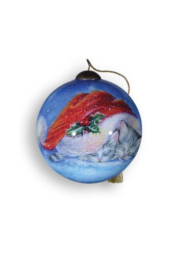 Ne'Qwa Art Meowy Christmas – New for 2012 – Glass Ornament Hand-Painted Reverse Painting Distinctive 728-NEQ