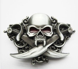 Belt Buckle Vintage Knives Diamond Skull