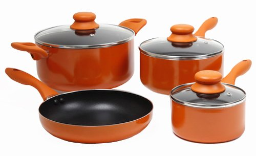 Gibson 83550.07 ColorSplash Branston 7-Piece Aluminum Cookware Set, Orange