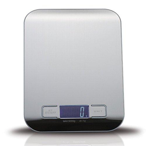 Yokimi Balance de Cuisine Numérique avec Une Capacité de 5kg en Acier Inoxydable à Une Grande Écran LCD