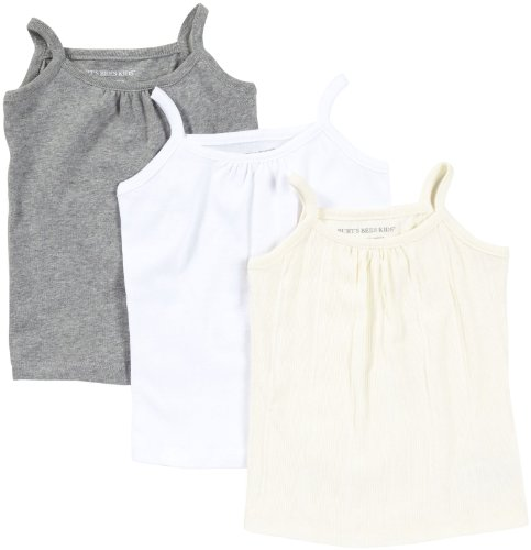Burt'S Bees Baby Girls' 3 Pk Camisole - Ivory/Heather Grey/Cloud - 4T front-947165