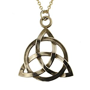 Triquetra Peace Bronze Pendant Necklace on Rolo Chain