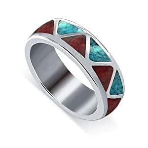 Sterling Silver Turquoise Coral Gemstone Southwestern 6mm Band Ring Size 8