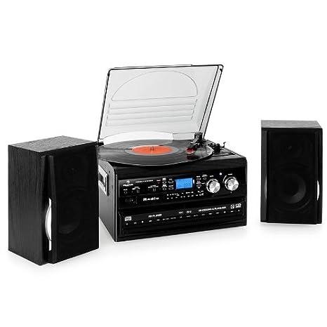 Auna TCR-186 WC - Chaine audio HiFi complete avec double lecteur CD, enregistreur K7 et platine vinyle (33 45 et 78 tours, AUX, bass-boost) - Noir