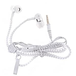 JIYANSHI Micromax Canvas Pulse 4G Compatible Zip Style Earphone Handsfree With Deep Bass (White)