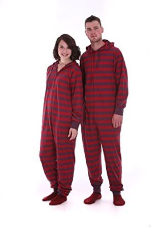 Funzee Adult Striped Onesie Non Footed Pajamas or Loungewear Retro Style XS-XXL (Petite (XS))