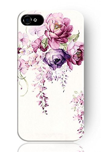 Sprawl New Retro Clear Design Red And Purple Flourishing Posy Personalized Hard Plastic Snap On Slim Fit Iphone 4 4S 4G Case Flowers Vintage