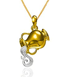 Exxotic Fashion Sterling Silver Aquarius Zodiac Pendant Idol Gift for Her and Him