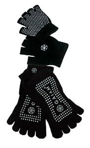 Gaiam Grippy Yoga Sock and Glove Set - Black