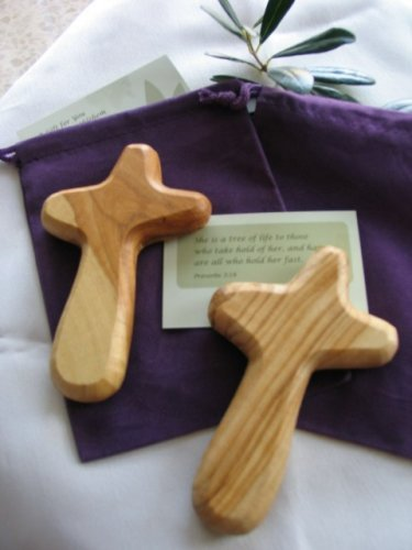 10 Olive Wood Holding Hand Crosses with Gift Bags (With Red or Black Velvet Bag ) From Bethlehem