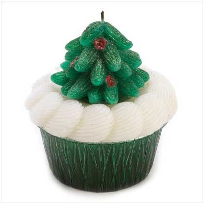 Christmas Tree Design Cupcake Scented Wax Candle Decor