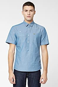 L!VE Short Sleeve Button Down Chambray Woven Shirt