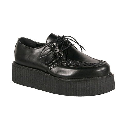 2 Inch Mens Platform Shoe Gothic Punk Rockabilly Basic Veggie Creeper Shoe Black