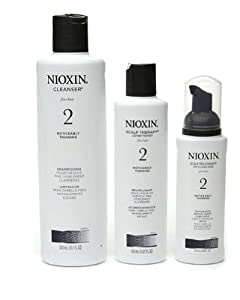 Nioxin System 2 Starter Kit Cleanser, Scalp Therapy & Scalp Treatment 1 set (Cleanser 300mL (10.1 FL OZ), Scalp Therapy 150 mL (5.07 FL OZ), Scalp Treatment 100mL (3.38 FL OZ))